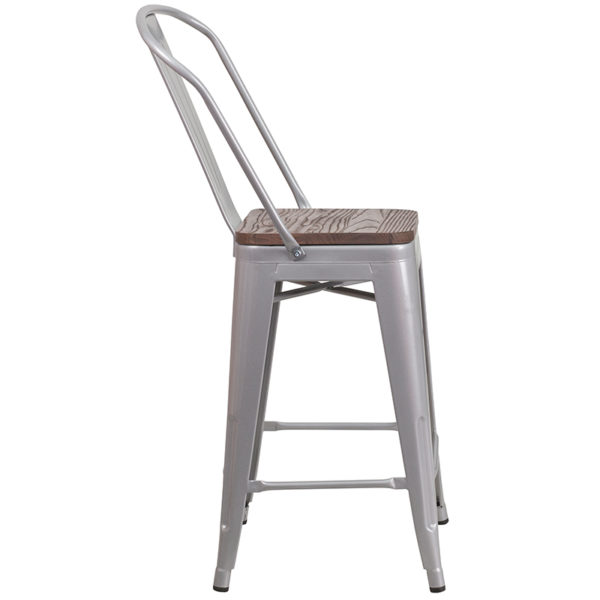 "Lowest Price 24"" High Silver Metal Counter Height Stool with Back and Wood Seat"
