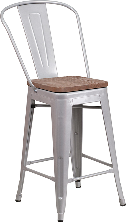 "Wholesale 24"" High Silver Metal Counter Height Stool with Back and Wood Seat"