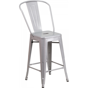 Wholesale 24'' High Silver Metal Indoor-Outdoor Counter Height Stool with Back
