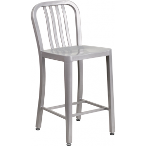 Wholesale 24'' High Silver Metal Indoor-Outdoor Counter Height Stool with Vertical Slat Back