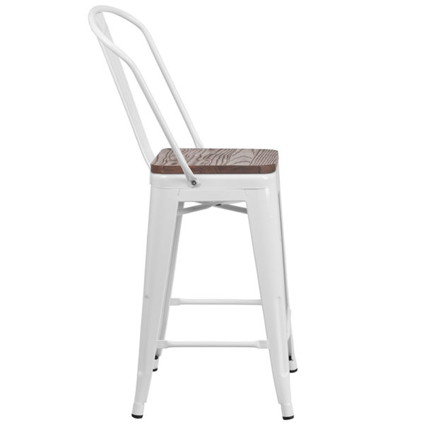 """Lowest Price 24"""" High White Metal Counter Height Stool with Back and Wood Seat"""