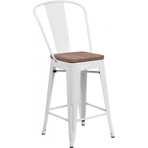 "Wholesale 24"" High White Metal Counter Height Stool with Back and Wood Seat"