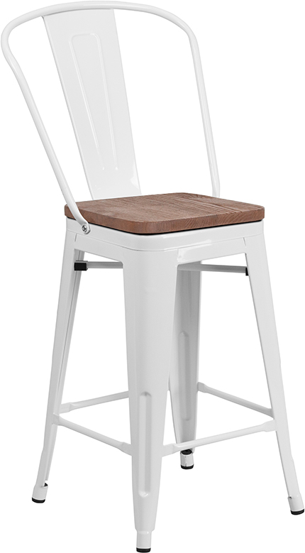 """Wholesale 24"""" High White Metal Counter Height Stool with Back and Wood Seat"""
