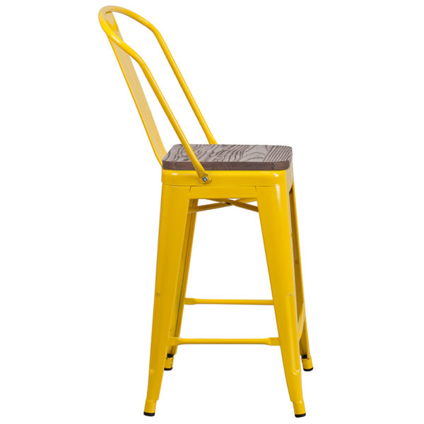 "Lowest Price 24"" High Yellow Metal Counter Height Stool with Back and Wood Seat"