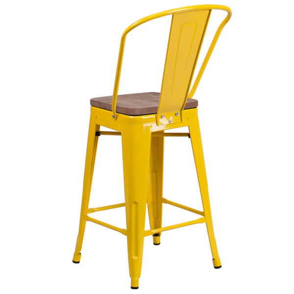 "Bistro Style Counter Stool 24"" Yellow Metal Counter Stool"