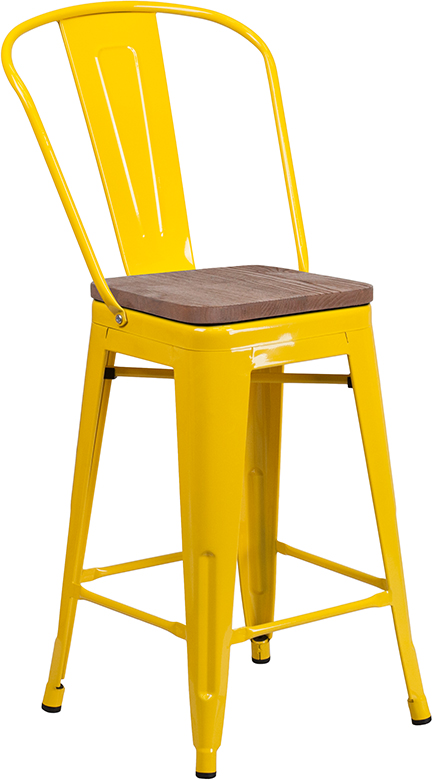 "Wholesale 24"" High Yellow Metal Counter Height Stool with Back and Wood Seat"