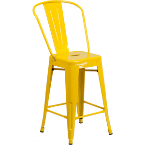 Wholesale 24'' High Yellow Metal Indoor-Outdoor Counter Height Stool with Back