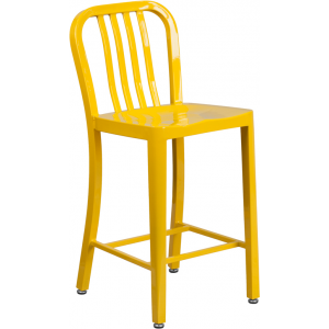 Wholesale 24'' High Yellow Metal Indoor-Outdoor Counter Height Stool with Vertical Slat Back