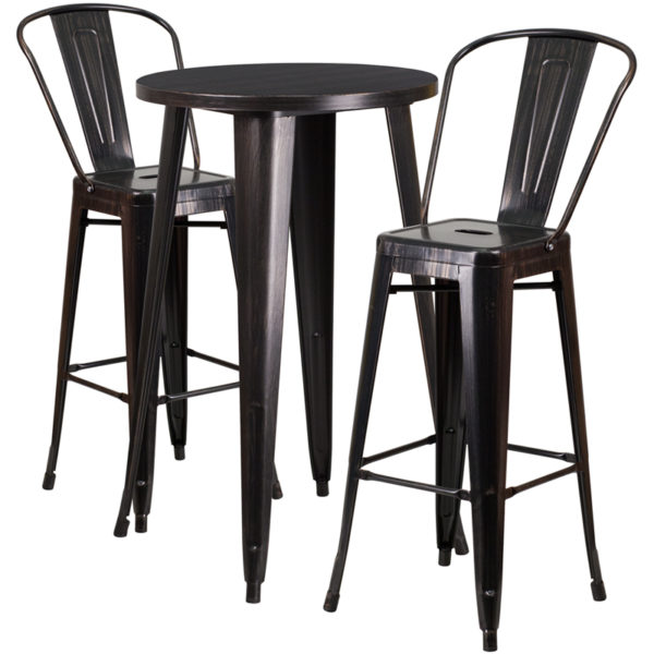Lowest Price 24'' Round Black-Antique Gold Metal Indoor-Outdoor Bar Table Set with 2 Cafe Stools