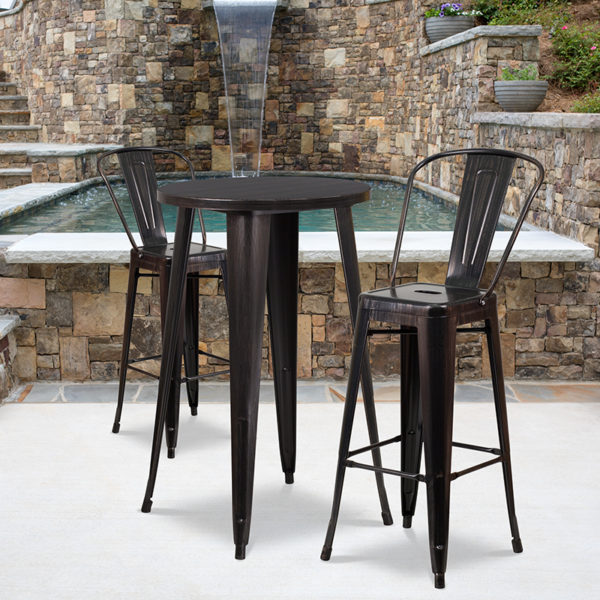 Wholesale 24'' Round Black-Antique Gold Metal Indoor-Outdoor Bar Table Set with 2 Cafe Stools