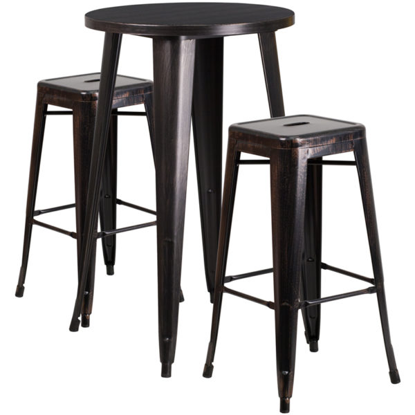 Lowest Price 24'' Round Black-Antique Gold Metal Indoor-Outdoor Bar Table Set with 2 Square Seat Backless Stools