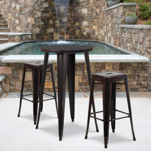 Wholesale 24'' Round Black-Antique Gold Metal Indoor-Outdoor Bar Table Set with 2 Square Seat Backless Stools
