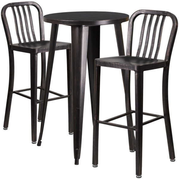 Lowest Price 24'' Round Black-Antique Gold Metal Indoor-Outdoor Bar Table Set with 2 Vertical Slat Back Stools