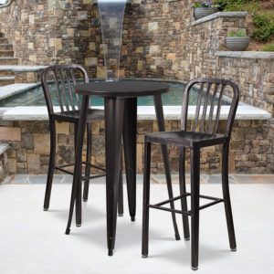 Wholesale 24'' Round Black-Antique Gold Metal Indoor-Outdoor Bar Table Set with 2 Vertical Slat Back Stools