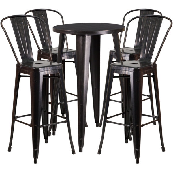 Lowest Price 24'' Round Black-Antique Gold Metal Indoor-Outdoor Bar Table Set with 4 Cafe Stools