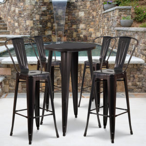 Wholesale 24'' Round Black-Antique Gold Metal Indoor-Outdoor Bar Table Set with 4 Cafe Stools