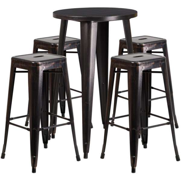 Lowest Price 24'' Round Black-Antique Gold Metal Indoor-Outdoor Bar Table Set with 4 Square Seat Backless Stools