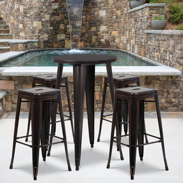 Wholesale 24'' Round Black-Antique Gold Metal Indoor-Outdoor Bar Table Set with 4 Square Seat Backless Stools