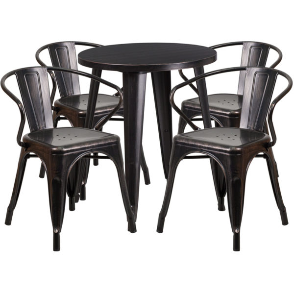 Wholesale 24'' Round Black-Antique Gold Metal Indoor-Outdoor Table Set with 4 Arm Chairs