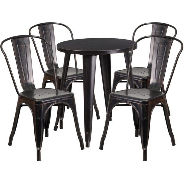 Wholesale 24'' Round Black-Antique Gold Metal Indoor-Outdoor Table Set with 4 Cafe Chairs