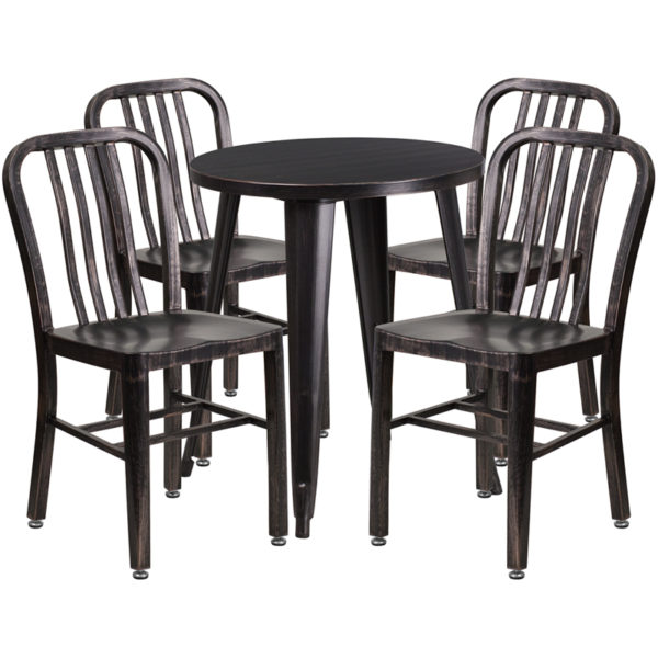 Wholesale 24'' Round Black-Antique Gold Metal Indoor-Outdoor Table Set with 4 Vertical Slat Back Chairs