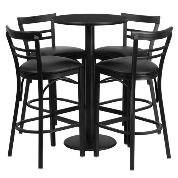 Lowest Price 24'' Round Black Laminate Table Set with Round Base and 4 Two-Slat Ladder Back Metal Barstools - Black Vinyl Seat