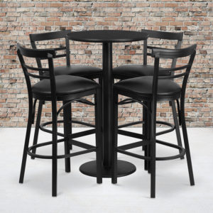 Wholesale 24'' Round Black Laminate Table Set with Round Base and 4 Two-Slat Ladder Back Metal Barstools - Black Vinyl Seat