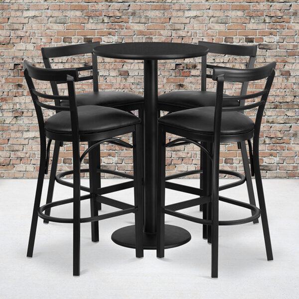 Wholesale 24'' Round Black Laminate Table Set with Round Base and 4 Two-Slat Ladder Back Metal Barstools - Black Vinyl Seat
