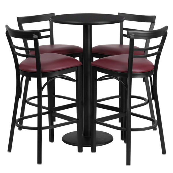 Lowest Price 24'' Round Black Laminate Table Set with Round Base and 4 Two-Slat Ladder Back Metal Barstools - Burgundy Vinyl Seat