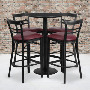 Wholesale 24'' Round Black Laminate Table Set with Round Base and 4 Two-Slat Ladder Back Metal Barstools - Burgundy Vinyl Seat
