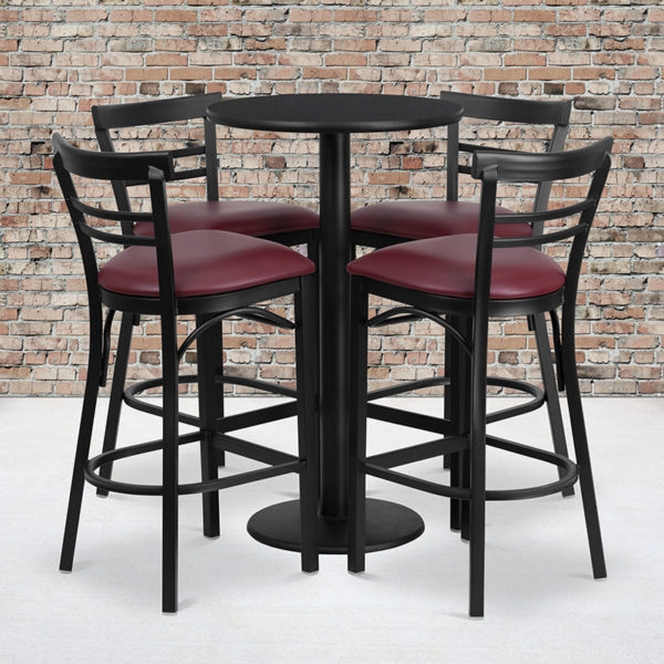 Wholesale 24'' Round Black Laminate Table Set with Round Base and 4 Two-Slat Ladder Back Metal Barstools - Burgundy Vinyl Seat