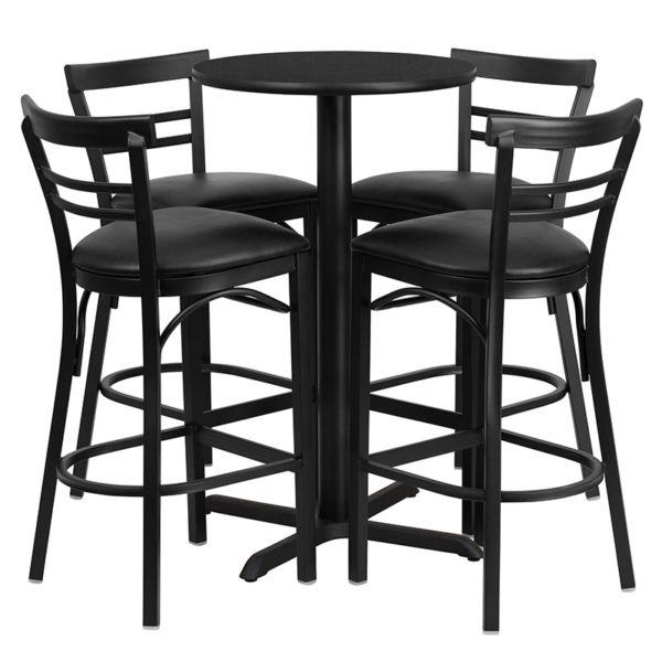 Lowest Price 24'' Round Black Laminate Table Set with X-Base and 4 Two-Slat Ladder Back Metal Barstools - Black Vinyl Seat