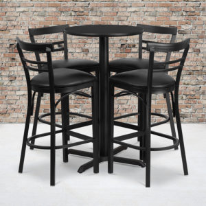 Wholesale 24'' Round Black Laminate Table Set with X-Base and 4 Two-Slat Ladder Back Metal Barstools - Black Vinyl Seat