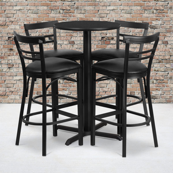 Wholesale 24'' Round Black Laminate Table Set with X-Base and 4 Two-Slat Ladder Back Metal Barstools - Black Vinyl Seat