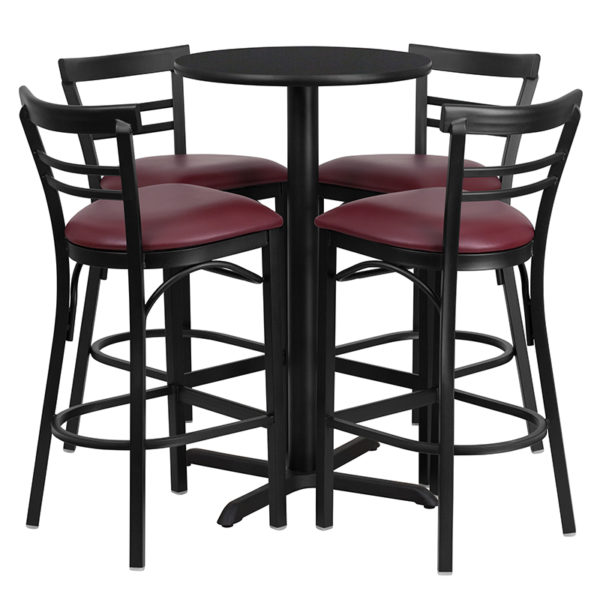 Lowest Price 24'' Round Black Laminate Table Set with X-Base and 4 Two-Slat Ladder Back Metal Barstools - Burgundy Vinyl Seat