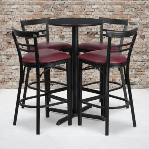 Wholesale 24'' Round Black Laminate Table Set with X-Base and 4 Two-Slat Ladder Back Metal Barstools - Burgundy Vinyl Seat