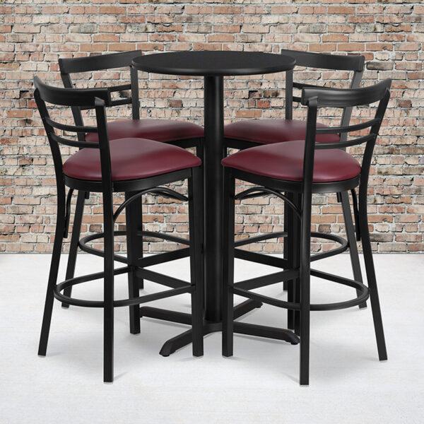 Wholesale 24'' Round Black Laminate Table Set with X-Base and 4 Two-Slat Ladder Back Metal Barstools - Burgundy Vinyl Seat