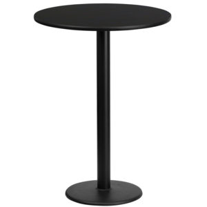 Wholesale 24'' Round Black Laminate Table Top with 18'' Round Bar Height Table Base