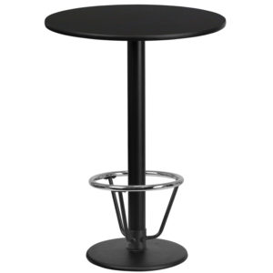 Wholesale 24'' Round Black Laminate Table Top with 18'' Round Bar Height Table Base and Foot Ring