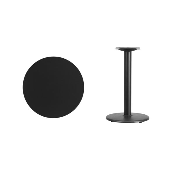 Lowest Price 24'' Round Black Laminate Table Top with 18'' Round Table Height Base