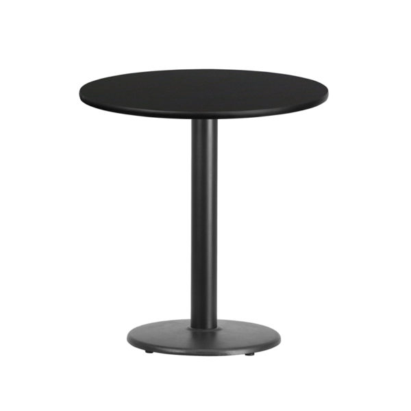 Wholesale 24'' Round Black Laminate Table Top with 18'' Round Table Height Base