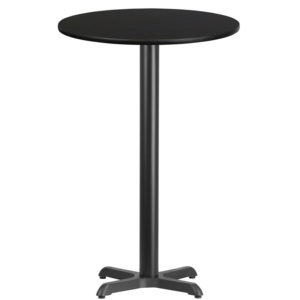 Wholesale 24'' Round Black Laminate Table Top with 22'' x 22'' Bar Height Table Base