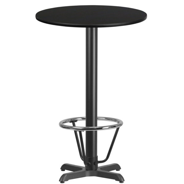 Wholesale 24'' Round Black Laminate Table Top with 22'' x 22'' Bar Height Table Base and Foot Ring
