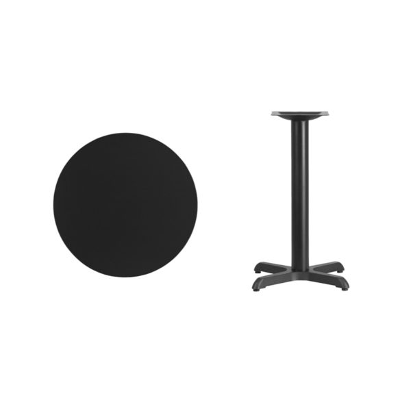 Lowest Price 24'' Round Black Laminate Table Top with 22'' x 22'' Table Height Base