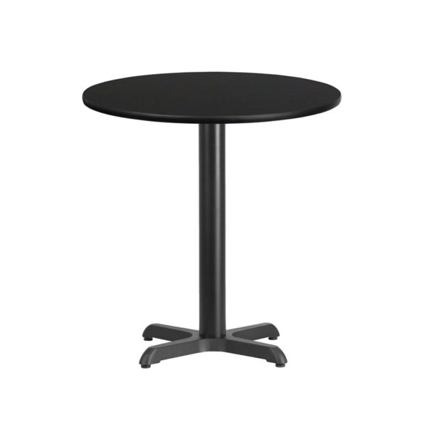 Wholesale 24'' Round Black Laminate Table Top with 22'' x 22'' Table Height Base
