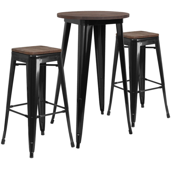 """Wholesale 24"""" Round Black Metal Bar Table Set with Wood Top and 2 Backless Stools"""