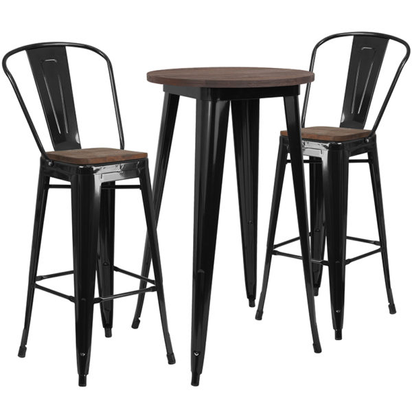 "Wholesale 24"" Round Black Metal Bar Table Set with Wood Top and 2 Stools"