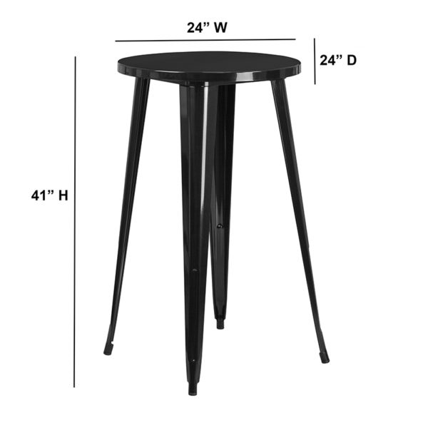 Lowest Price 24'' Round Black Metal Indoor-Outdoor Bar Height Table