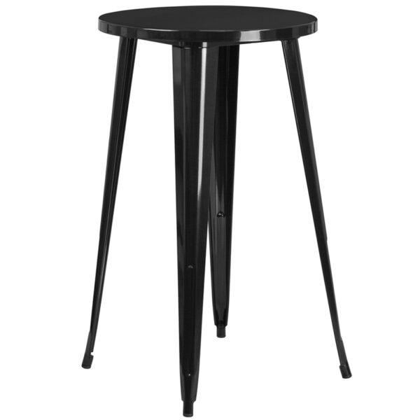 Wholesale 24'' Round Black Metal Indoor-Outdoor Bar Height Table