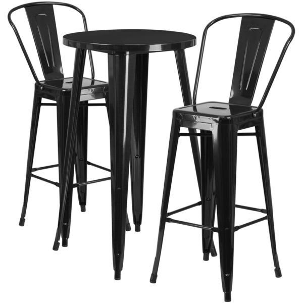 Lowest Price 24'' Round Black Metal Indoor-Outdoor Bar Table Set with 2 Cafe Stools